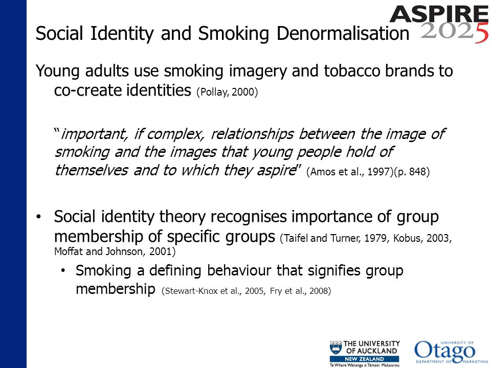 Discussion and Implications Most non-smokers made explicit and surreptitious judgements of smokers Differentiated between themselves and smokers by extending traditional stereotypes Saw their smokefree status as the logical response to a harmful behaviour Saw smokers as flawed and themselves as superior (Chapman and Freeman 2008; Stewart-Knox et al., 2005; Fry et al., 2008)
