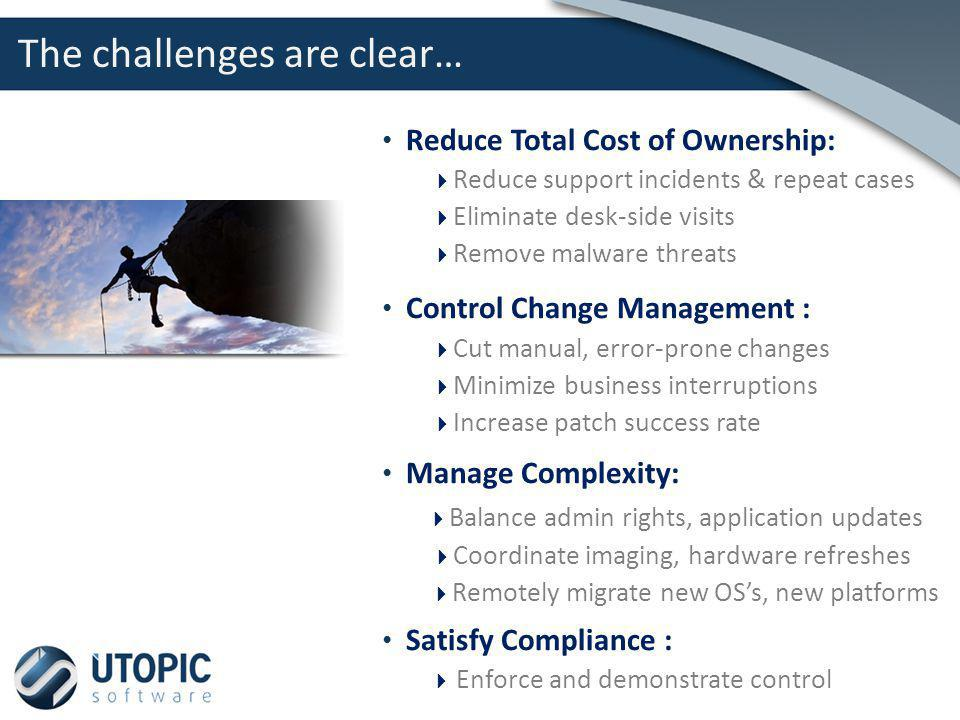 Reduce Total Cost of Ownership: Reduce support incidents & repeat cases Eliminate desk-side visits Remove malware threats Control Change Management :