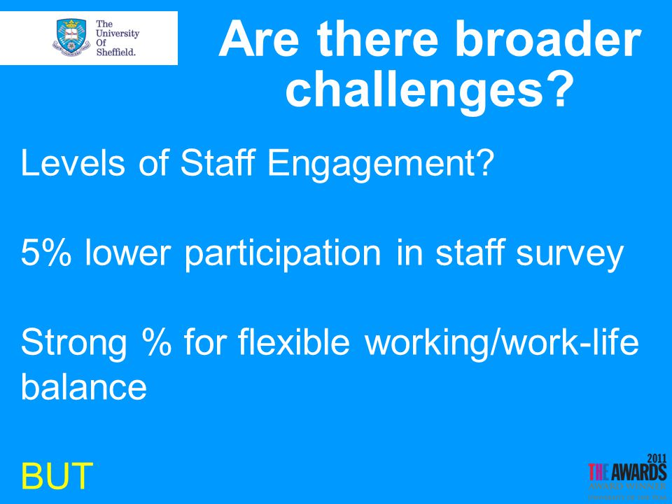 Are there broader challenges. Levels of Staff Engagement.