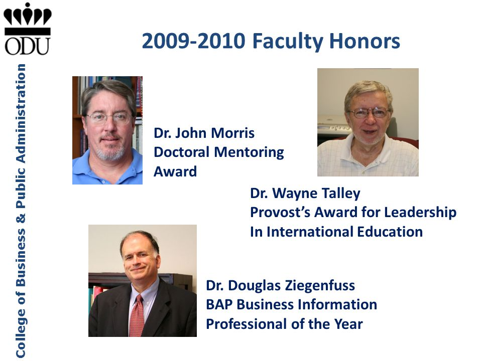 College of Business & Public Administration 2009-2010 Faculty Honors Dr. John Morris Doctoral Mentoring Award Dr. Wayne Talley Provosts Award for Lead