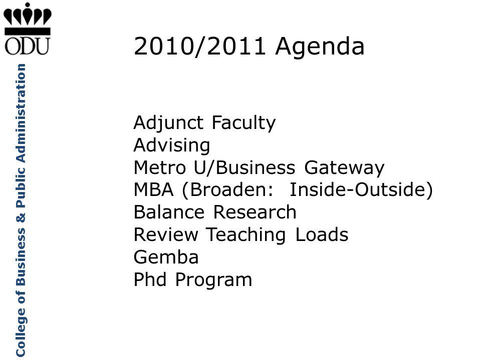 College of Business & Public Administration 2010/2011 Agenda Adjunct Faculty Advising Metro U/Business Gateway MBA (Broaden: Inside-Outside) Balance R
