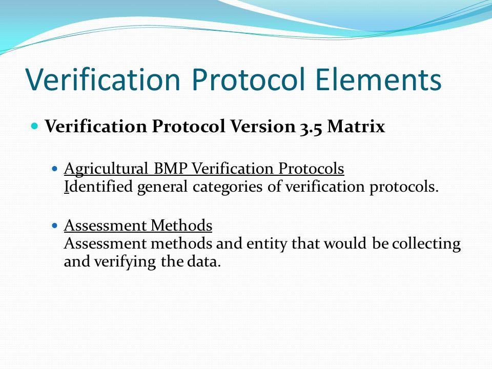 Verification Protocol Elements Verification Protocol Version 3.5 Matrix Agricultural BMP Verification Protocols Identified general categories of verif