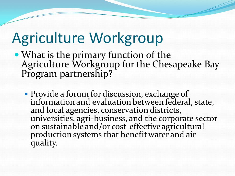 Agriculture Workgroup What is the primary function of the Agriculture Workgroup for the Chesapeake Bay Program partnership? Provide a forum for discus