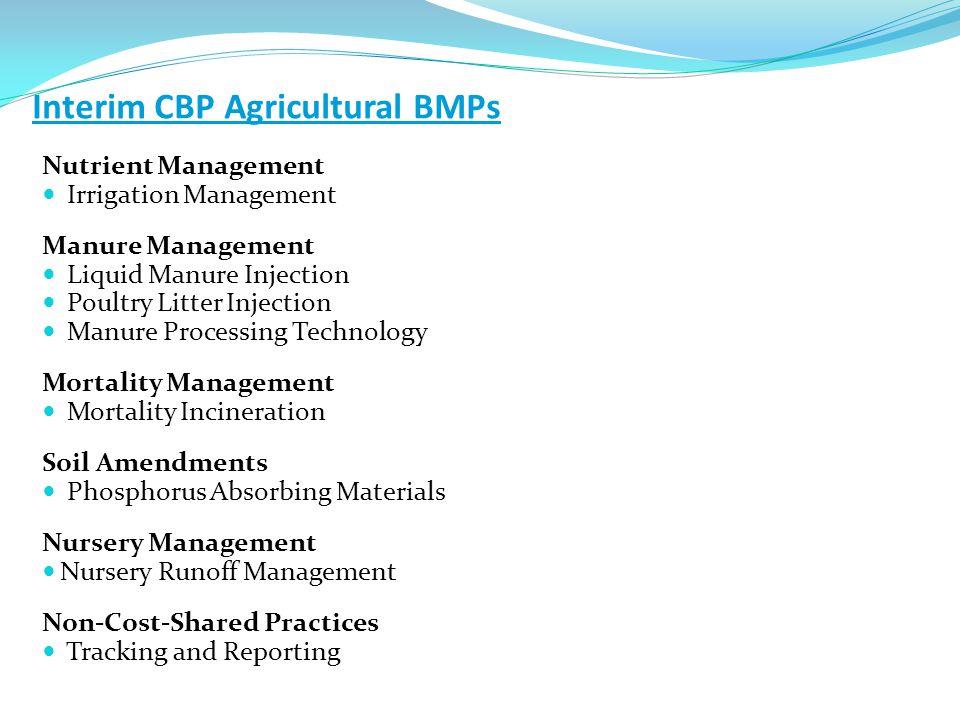 Interim CBP Agricultural BMPs Nutrient Management Irrigation Management Manure Management Liquid Manure Injection Poultry Litter Injection Manure Proc