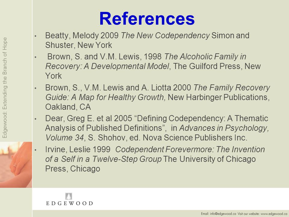 References Beatty, Melody 2009 The New Codependency Simon and Shuster, New York Brown, S.