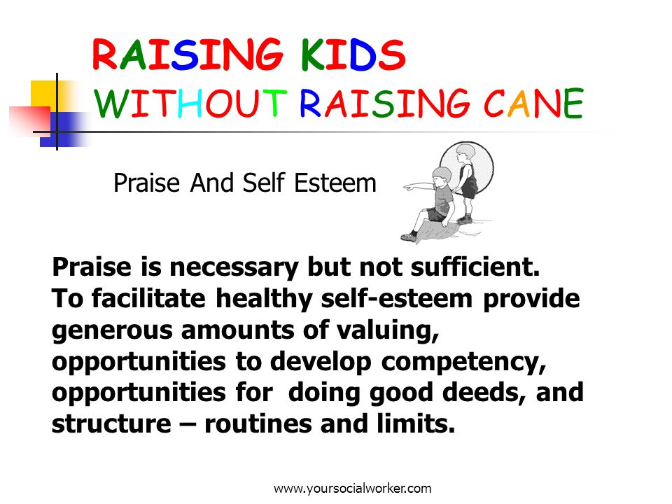 www.yoursocialworker.com RAISING KIDS WITHOUT RAISING CANE Praise And Self Esteem Praise is necessary but not sufficient. To facilitate healthy self-e