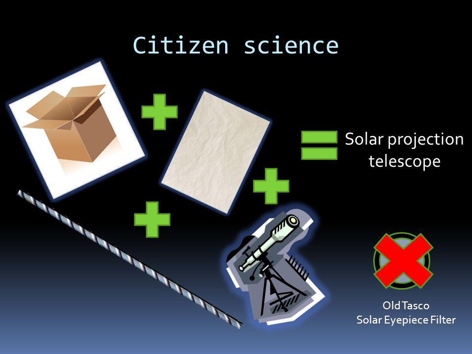 Citizen science Solar projection telescope Old Tasco Solar Eyepiece Filter