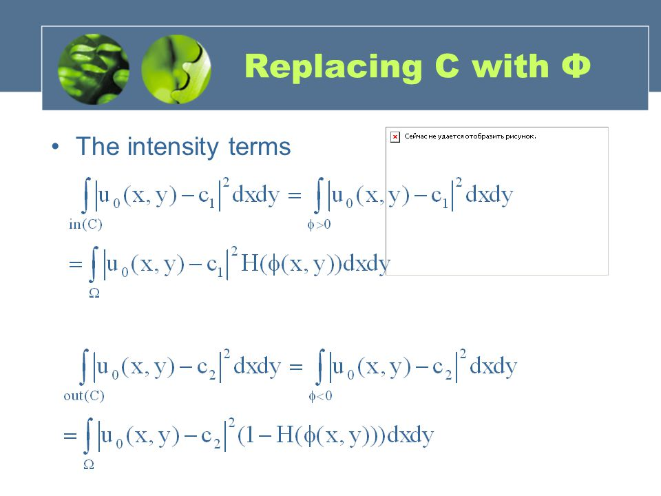 Replacing C with Φ The intensity terms