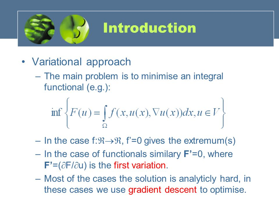 Introduction Variational approach –The main problem is to minimise an integral functional (e.g.): –In the case f:, f=0 gives the extremum(s) –In the c