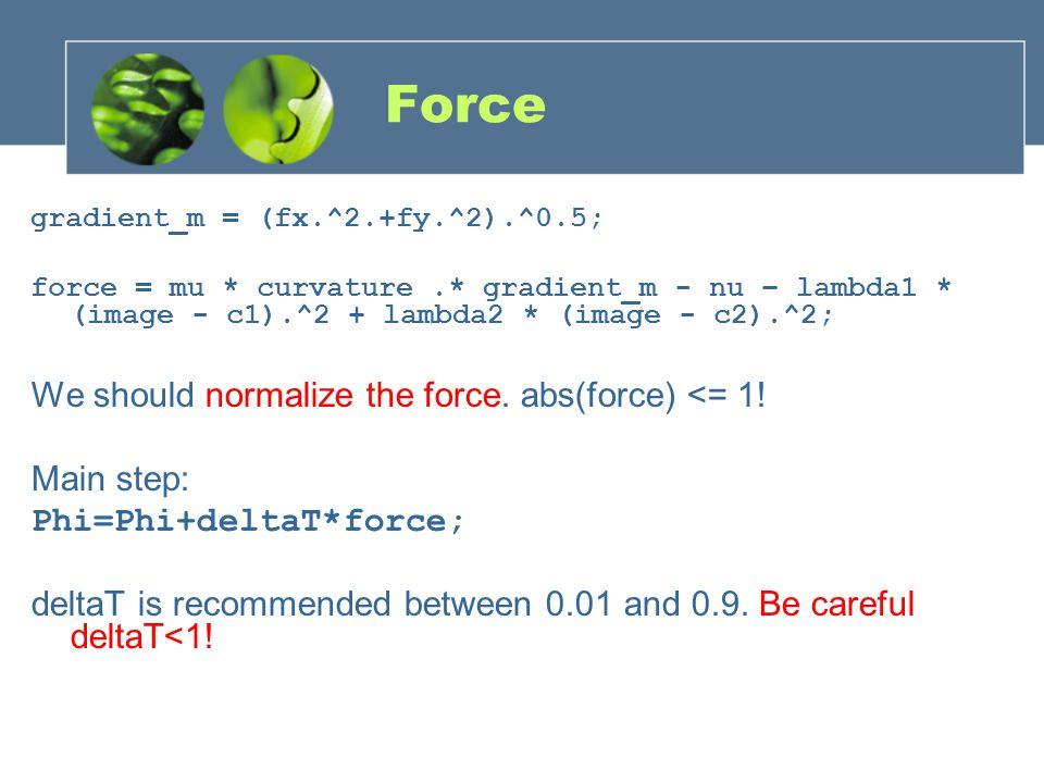 Force gradient_m = (fx.^2.+fy.^2).^0.5; force = mu * curvature.* gradient_m - nu – lambda1 * (image - c1).^2 + lambda2 * (image - c2).^2; We should no