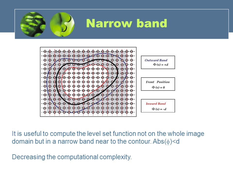 Narrow band It is useful to compute the level set function not on the whole image domain but in a narrow band near to the contour. Abs( )<d Decreasing