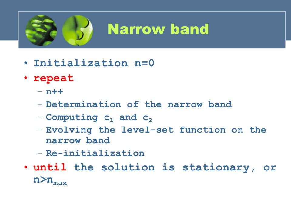 Narrow band Initialization n=0 repeat –n++ –Determination of the narrow band –Computing c 1 and c 2 –Evolving the level-set function on the narrow ban