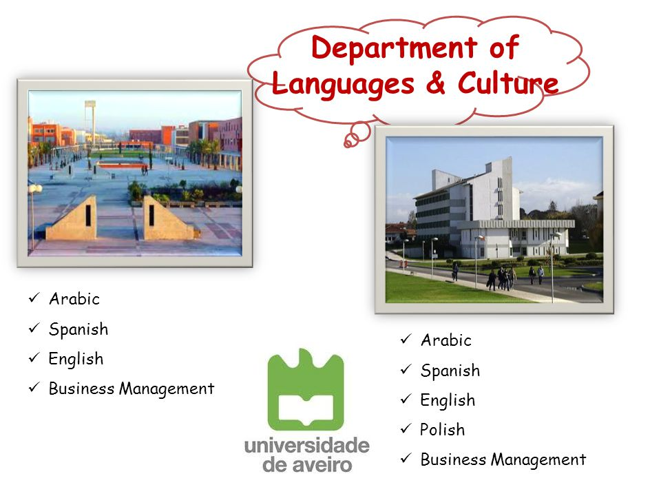 Department of Languages & Culture Arabic Spanish English Polish Business Management Arabic Spanish English Business Management