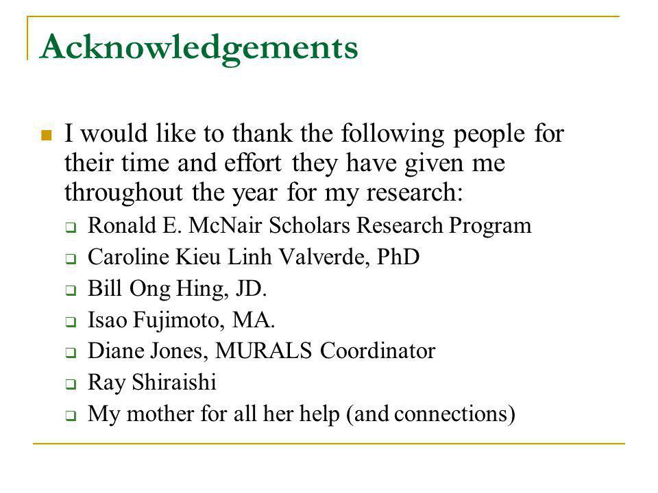 Acknowledgements I would like to thank the following people for their time and effort they have given me throughout the year for my research: Ronald E.