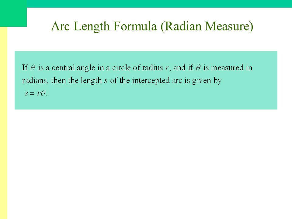 Arc Length Formula (Radian Measure)