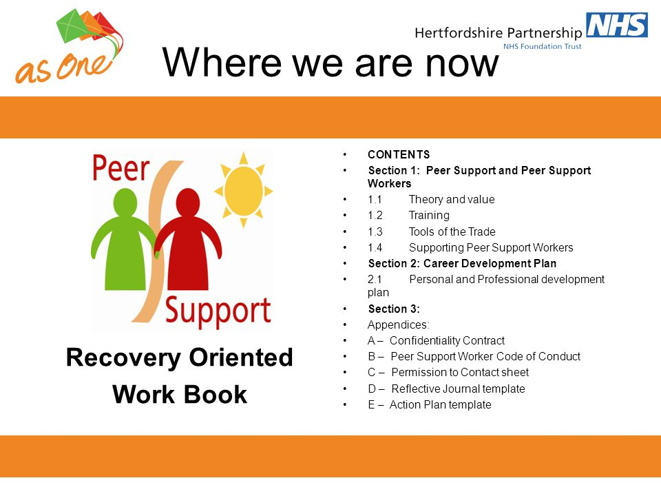 Theory & Value Peer work; Is based in shared understanding, respect and mutual empowerment.