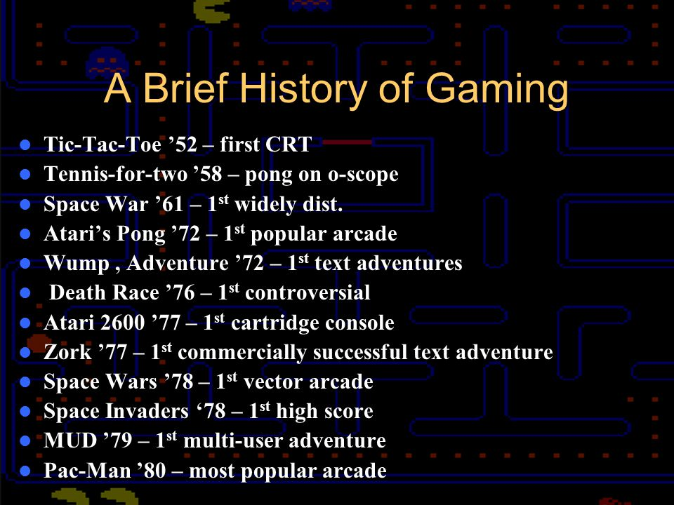Golden Age 1978 - Space Invaders – High score triggers coin shortages – Spurs home console market 1980 - Pac Man – 600k various arcade versions Battlezone – first 3D game Donkey Kong – Mario branding 1982- arcade videogame industry makes 3x $ of the movie biz – double number of videogame arcades than there were in 1980.