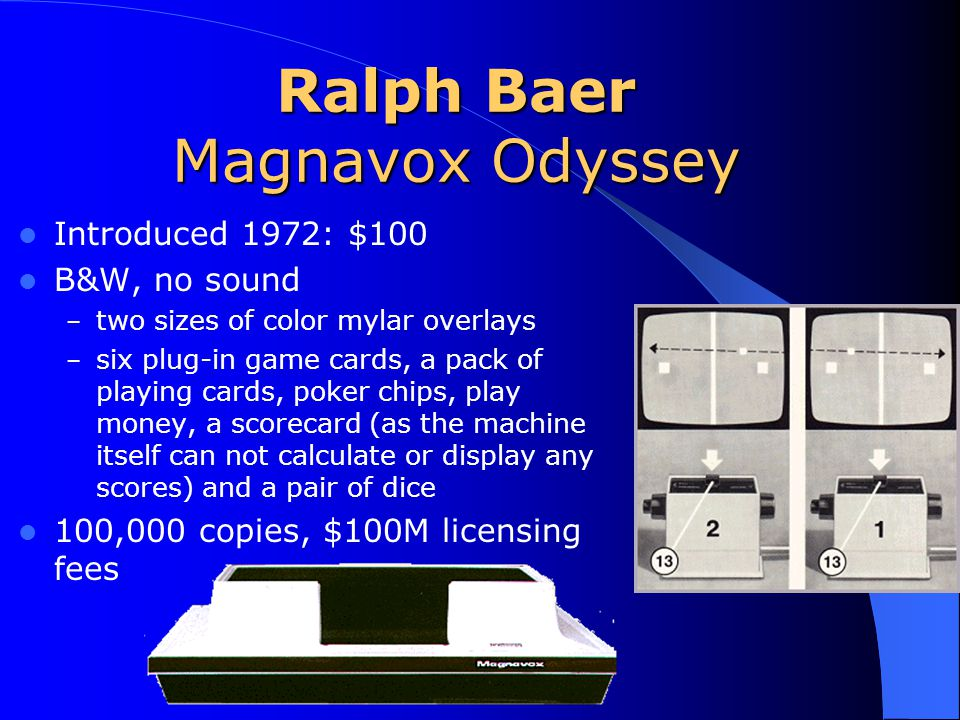 Ralph Baer Magnavox Odyssey Introduced 1972: $100 B&W, no sound – two sizes of color mylar overlays – six plug-in game cards, a pack of playing cards, poker chips, play money, a scorecard (as the machine itself can not calculate or display any scores) and a pair of dice 100,000 copies, $100M licensing fees