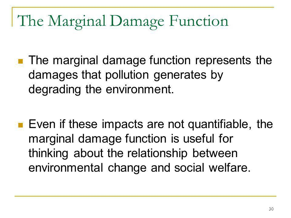 30 The Marginal Damage Function The marginal damage function represents the damages that pollution generates by degrading the environment. Even if the