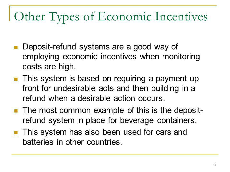 81 Other Types of Economic Incentives Deposit-refund systems are a good way of employing economic incentives when monitoring costs are high. This syst