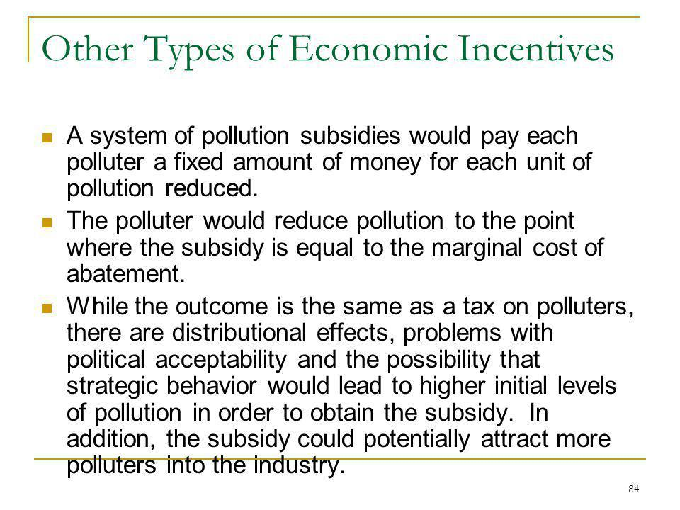 84 Other Types of Economic Incentives A system of pollution subsidies would pay each polluter a fixed amount of money for each unit of pollution reduc