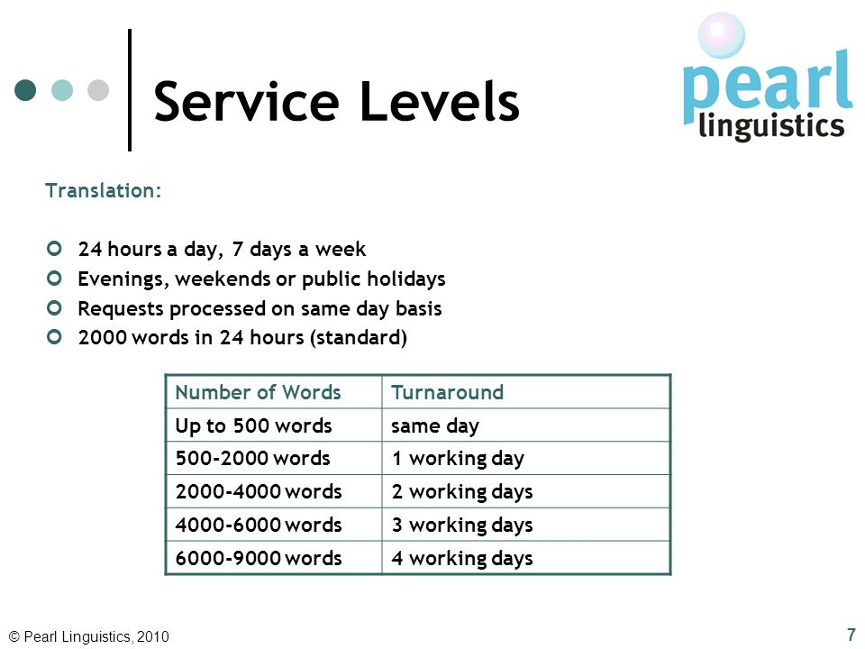 Service Levels Translation: 24 hours a day, 7 days a week Evenings, weekends or public holidays Requests processed on same day basis 2000 words in 24