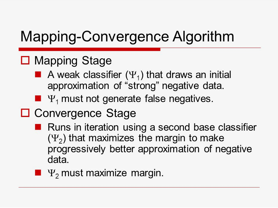 Mapping-Convergence Algorithm Mapping Stage A weak classifier ( 1 ) that draws an initial approximation of strong negative data.
