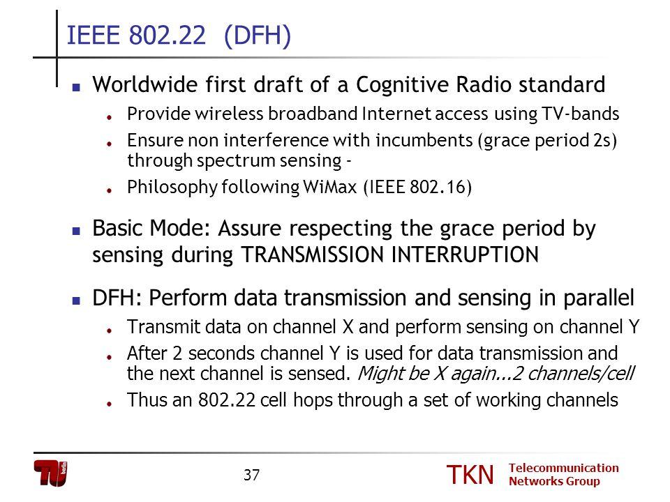 TKN Telecommunication Networks Group 37 IEEE 802.22 (DFH) Worldwide first draft of a Cognitive Radio standard Provide wireless broadband Internet acce