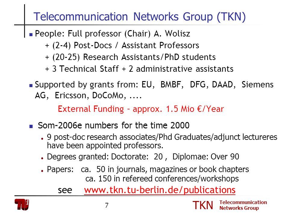 TKN Telecommunication Networks Group 7 Telecommunication Networks Group (TKN) People: Full professor (Chair) A. Wolisz + (2-4) Post-Docs / Assistant P