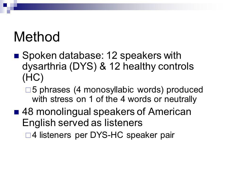 Method Spoken database: 12 speakers with dysarthria (DYS) & 12 healthy controls (HC) 5 phrases (4 monosyllabic words) produced with stress on 1 of the 4 words or neutrally 48 monolingual speakers of American English served as listeners 4 listeners per DYS-HC speaker pair