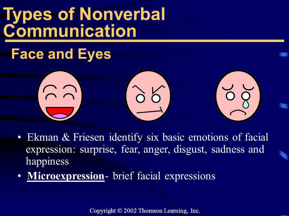Copyright © 2002 Thomson Learning, Inc. Face and Eyes Ekman & Friesen identify six basic emotions of facial expression: surprise, fear, anger, disgust