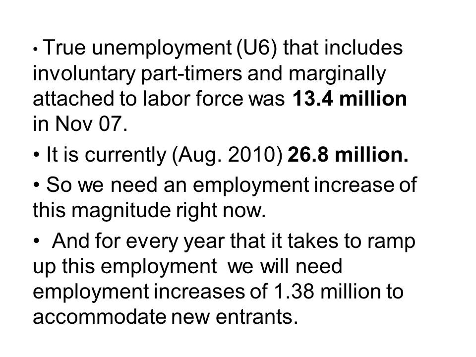True unemployment (U6) that includes involuntary part-timers and marginally attached to labor force was 13.4 million in Nov 07. It is currently (Aug.