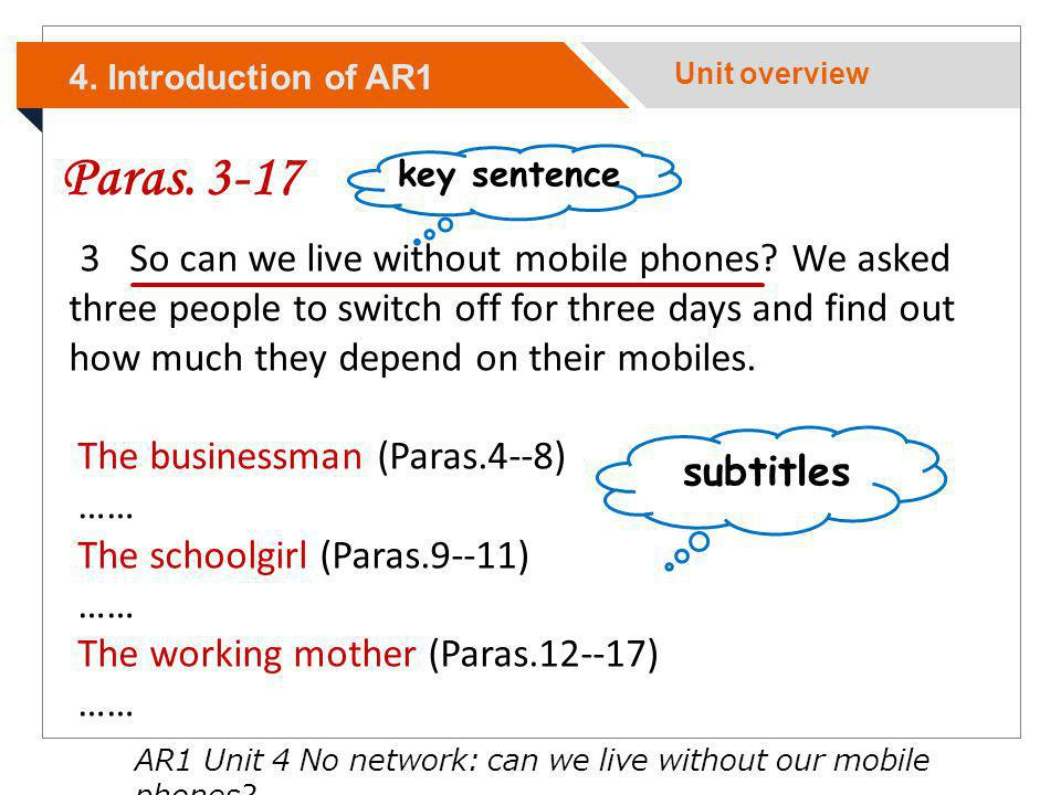 Paras. 3-17 subtitles key sentence 3 So can we live without mobile phones? We asked three people to switch off for three days and find out how much th