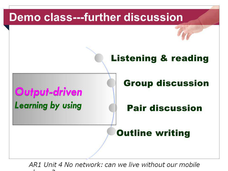 Demo class---further discussion AR1 Unit 4 No network: can we live without our mobile phones.