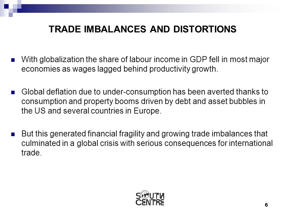 6 TRADE IMBALANCES AND DISTORTIONS With globalization the share of labour income in GDP fell in most major economies as wages lagged behind productivi