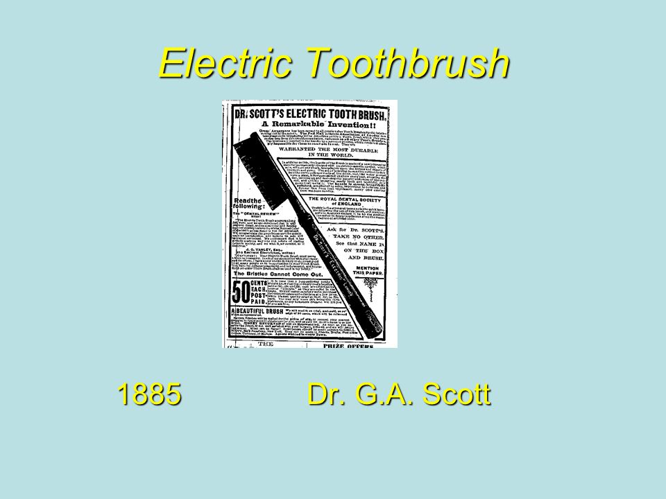 Electric Toothbrush 1885Dr. G.A. Scott