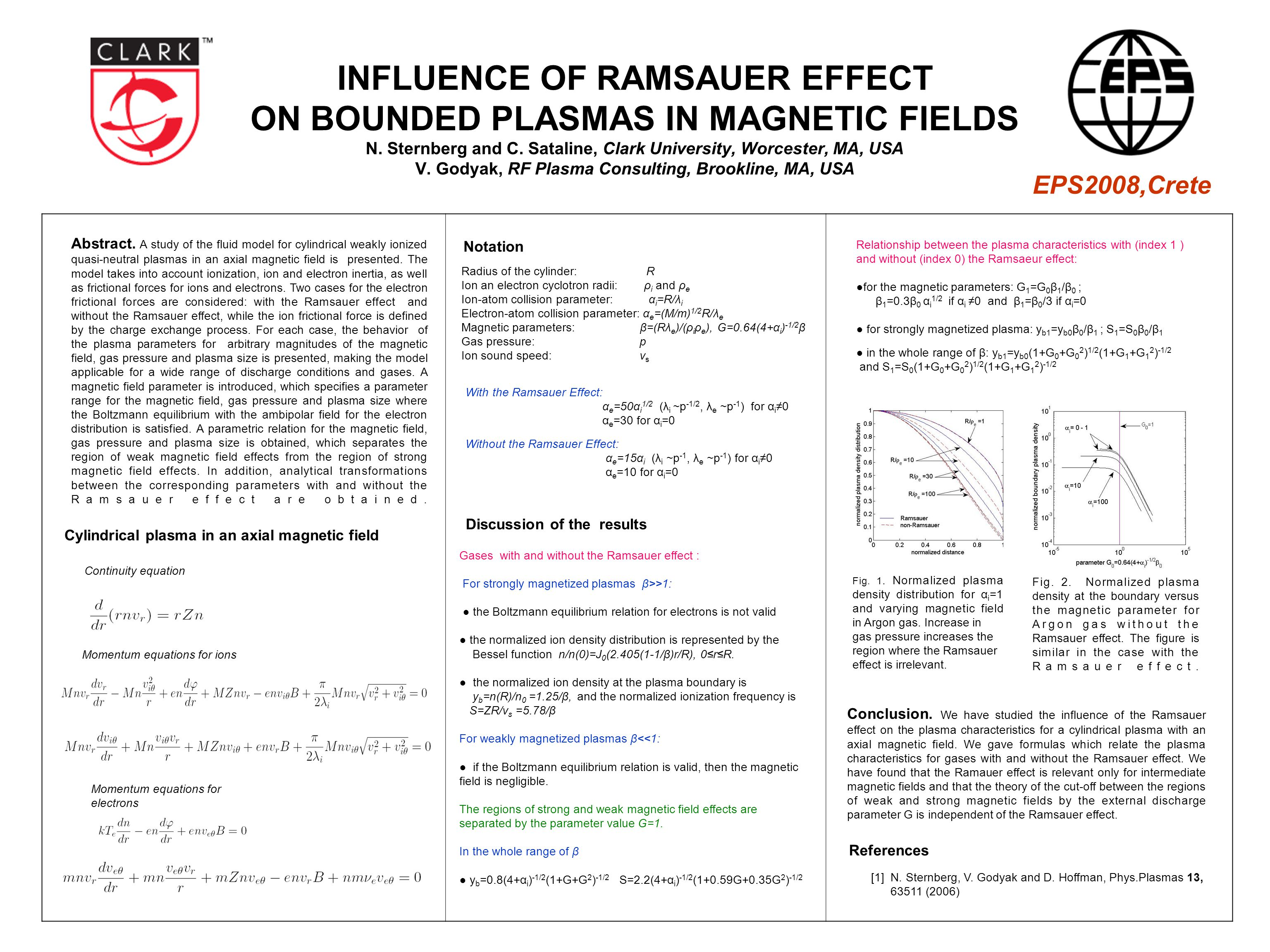 INFLUENCE OF RAMSAUER EFFECT ON BOUNDED PLASMAS IN MAGNETIC FIELDS N.