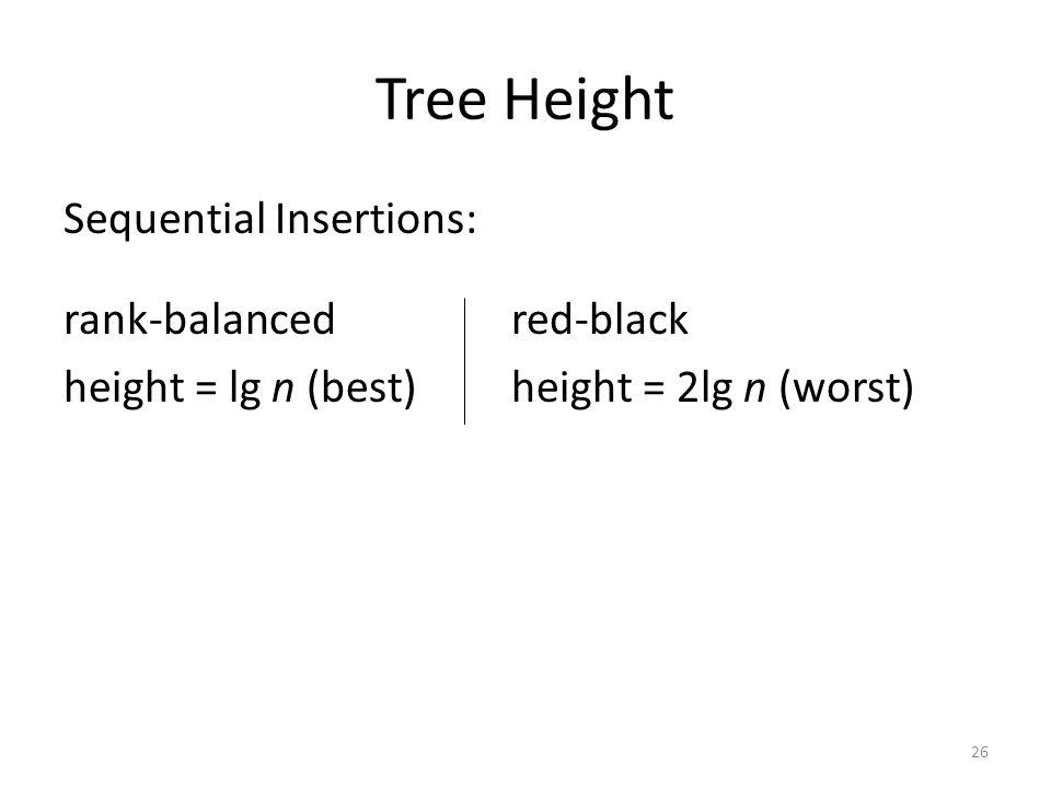 Tree Height Sequential Insertions: rank-balancedred-black height = lg n (best)height = 2lg n (worst) 26