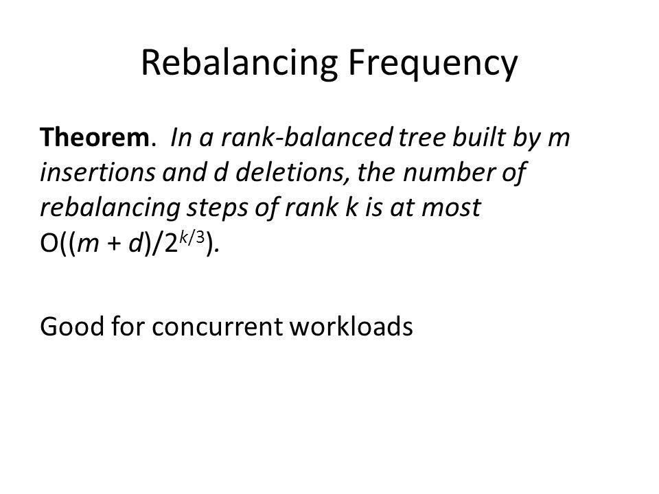 Rebalancing Frequency Theorem. In a rank-balanced tree built by m insertions and d deletions, the number of rebalancing steps of rank k is at most O((