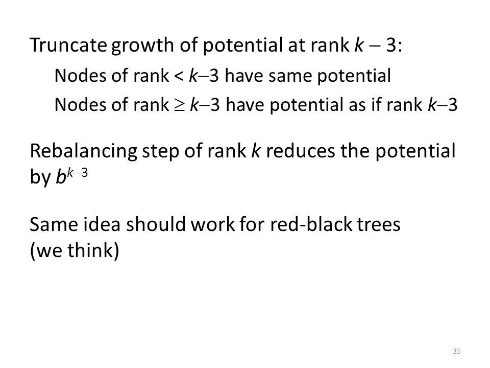 35 Truncate growth of potential at rank k 3: Nodes of rank < k 3 have same potential Nodes of rank k 3 have potential as if rank k 3 Rebalancing step of rank k reduces the potential by b k 3 Same idea should work for red-black trees (we think)