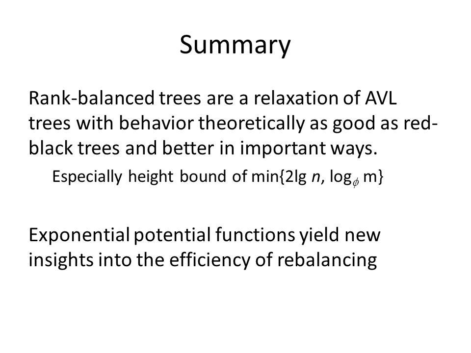 Summary Rank-balanced trees are a relaxation of AVL trees with behavior theoretically as good as red- black trees and better in important ways.