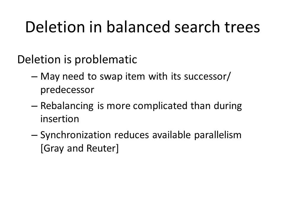 Deletion in balanced search trees Deletion is problematic – May need to swap item with its successor/ predecessor – Rebalancing is more complicated th
