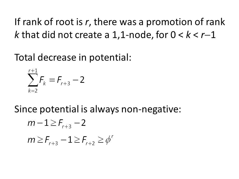 If rank of root is r, there was a promotion of rank k that did not create a 1,1-node, for 0 < k < r 1 Total decrease in potential: Since potential is