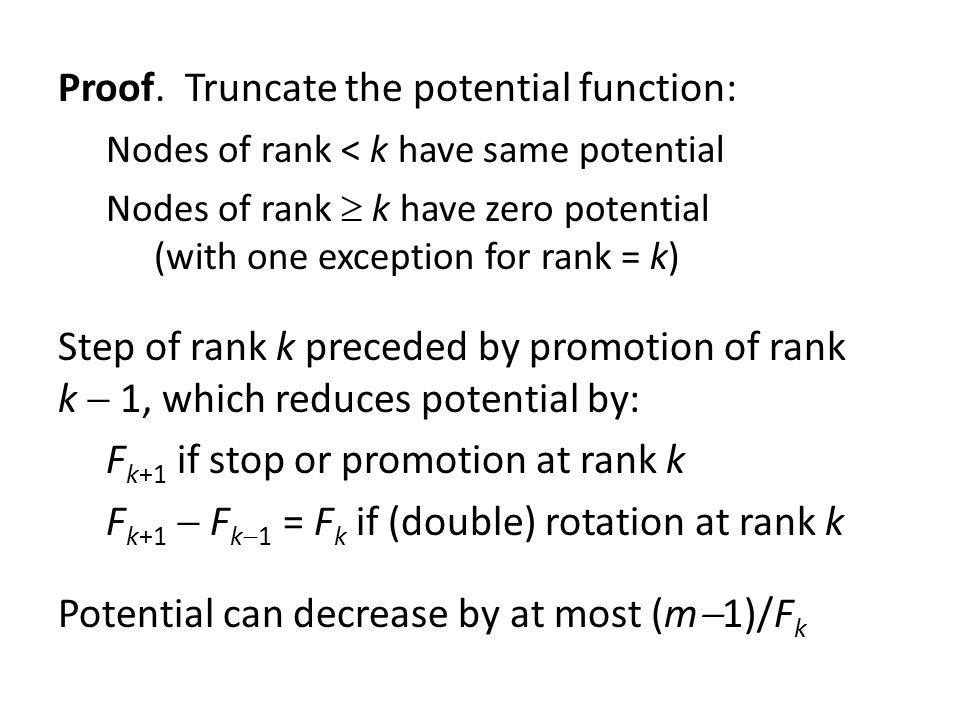 Proof. Truncate the potential function: Nodes of rank < k have same potential Nodes of rank k have zero potential (with one exception for rank = k) St
