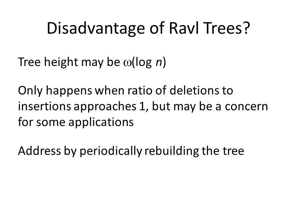 Disadvantage of Ravl Trees.