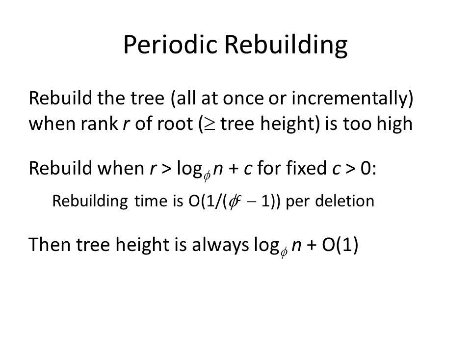 Periodic Rebuilding Rebuild the tree (all at once or incrementally) when rank r of root ( tree height) is too high Rebuild when r > log n + c for fixed c > 0: Rebuilding time is O(1/( c 1)) per deletion Then tree height is always log n + O(1)
