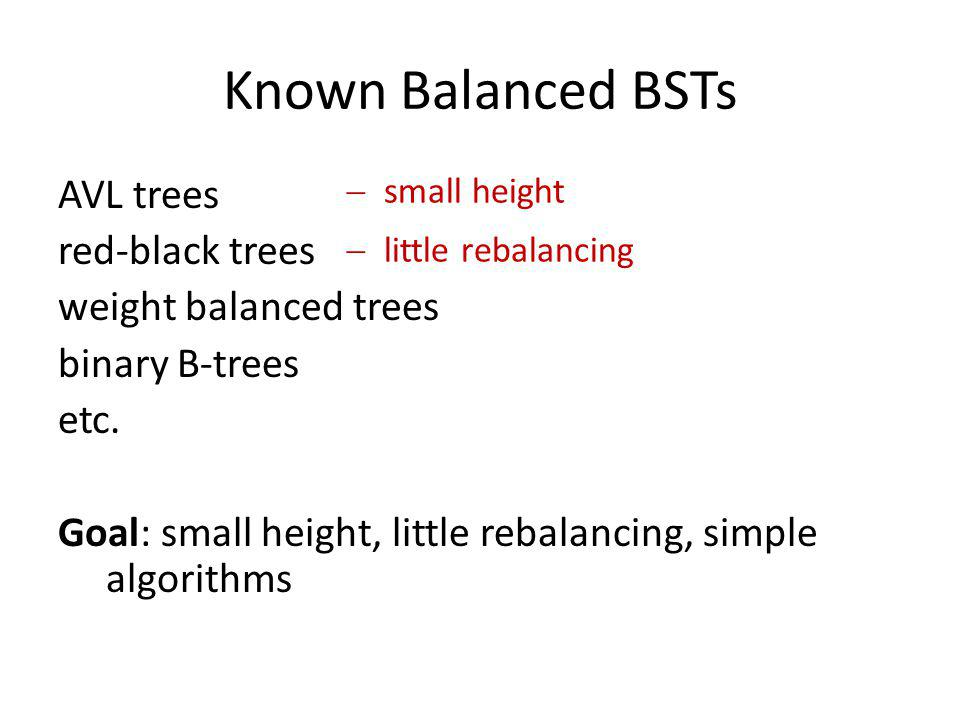 Known Balanced BSTs AVL trees red-black trees weight balanced trees binary B-trees etc. Goal: small height, little rebalancing, simple algorithms smal
