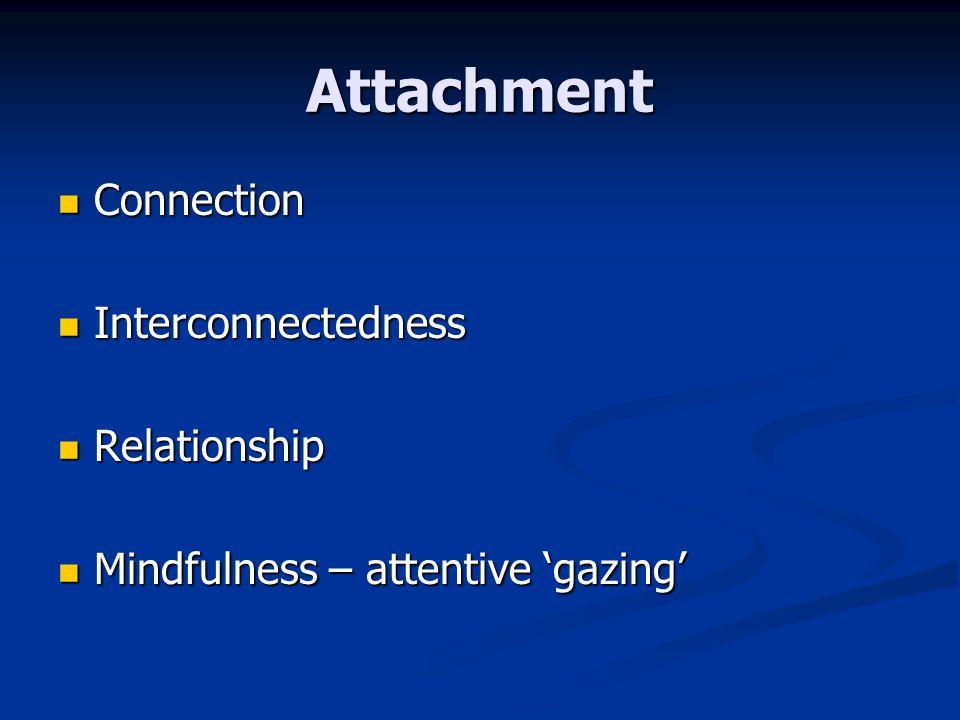 Attachment Connection Connection Interconnectedness Interconnectedness Relationship Relationship Mindfulness – attentive gazing Mindfulness – attentiv