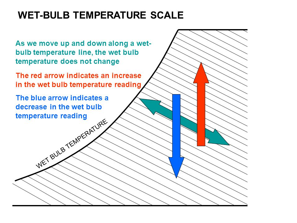 WET-BULB TEMPERATURE SCALE As we move up and down along a wet- bulb temperature line, the wet bulb temperature does not change WET BULB TEMPERATURE Th