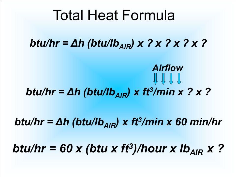 btu/hr = 60 x (btu x ft 3 )/hour x lb AIR x ? Total Heat Formula btu/hr = Δh (btu/lb AIR ) x ? x ? x ? x ? btu/hr = Δh (btu/lb AIR ) x ft 3 /min x ? x